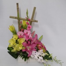 beautiful modern arrangement of orchids and lilies