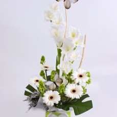 Delicate white blooms with butterflies.