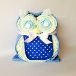Blue owl nappy cake