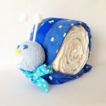 Blue snail nappy cake