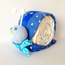 Blue snail nappy cake