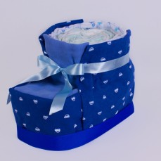 Baby booty shaped nappy cake in blue.