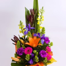 colourful irises, lilies, gerberas and carnations.