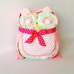 Pink owl nappy cake