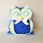 Blue owl nappy cake